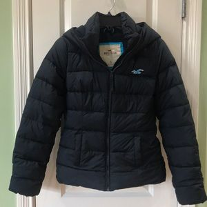 Hollister navy blue coat with hood
